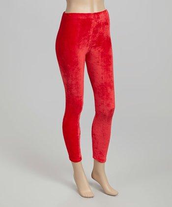 Red Velour Leggings - Women