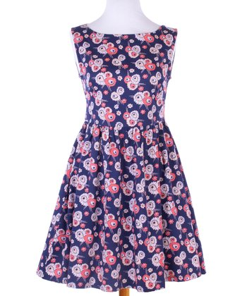 Blue & Pink Floral Hello Dolly Dress