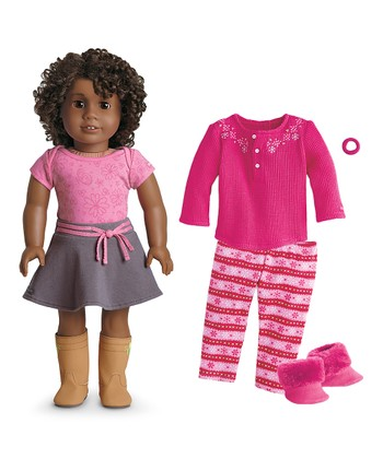 Dark Skin, Short Brown Hair, Brown Eye 18'' Doll & Outfit Set