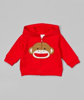 Red Sock Monkey Zip-Up Hoodie - Infant