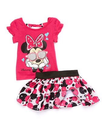 Pink Minnie Mouse Tee & Skirt - Toddler