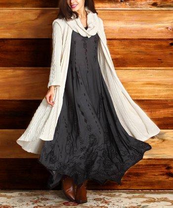 Charcoal Ornate Handkerchief Dress