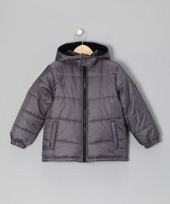 Charcoal & Black Puffer Coat - Infant, Toddler & Boys