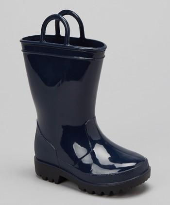 Navy Pull-On Rain Boot