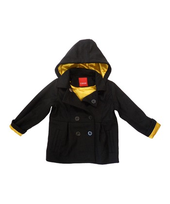Black & Yellow Double-Breasted Hooded Coat - Toddler & Girls