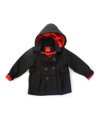 Gray & Red Double-Breasted Hooded Coat - Girls