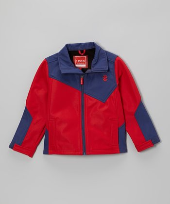 Cobalt & Real Red Soft-Shell Block Jacket - Toddler & Boys