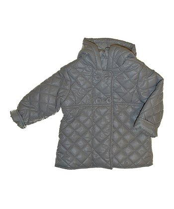 Gray Quilted Hooded Puffer Coat - Infant, Toddler & Girls
