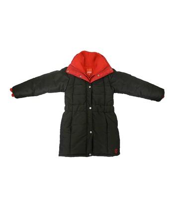 Black & Red Shirred Waist Puffer Coat - Toddler