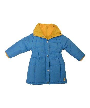 Blue & Yellow Shirred Waist Puffer Coat - Toddler & Girls
