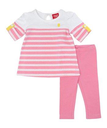 White Stripe Top & Pink Leggings - Infant & Toddler