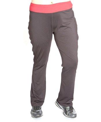 Black & Red Essential Yoga Pants - Plus