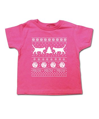 Hot Pink 'Meow' Tee - Toddler & Girls