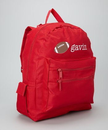 Red Football Personalized Backpack
