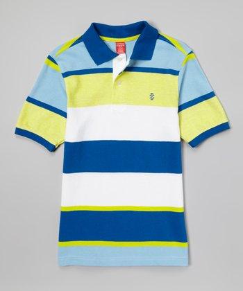 Snorkel Blue & White Color Block Polo - Toddler & Boys