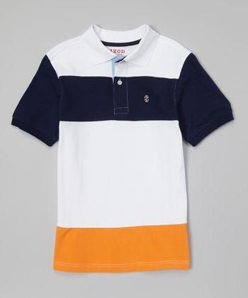 Orange & White Color Block Polo - Toddler & Boys
