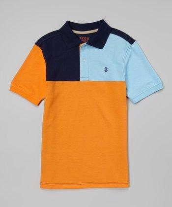 Orange & Blue Color Block Polo - Toddler & Boys
