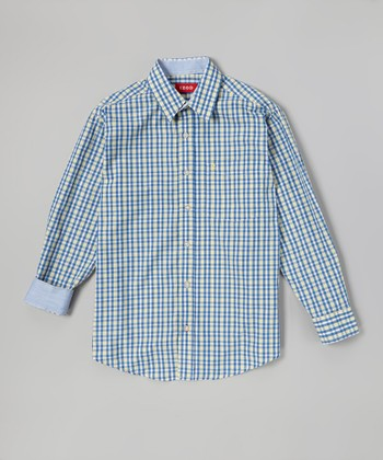 Blue & Yellow Plaid Button-Up - Boys
