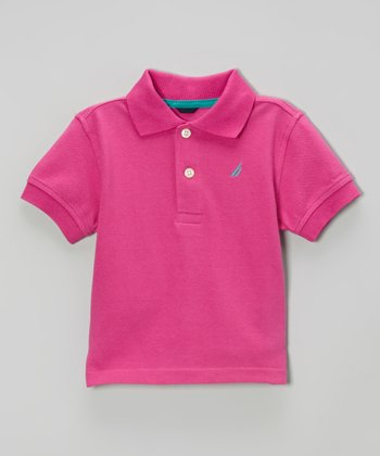 Dark Pink Solid Pique Polo - Infant