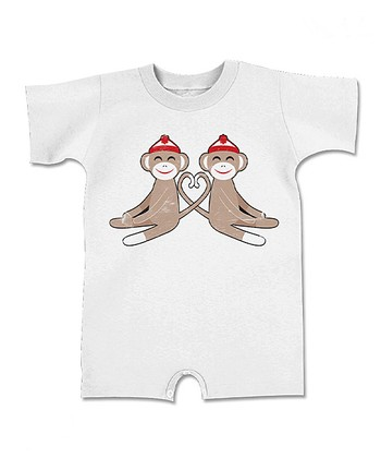 White Sock Monkey Heart Romper - Infant