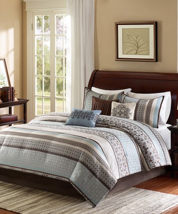 Blue & Brown Quilted Coverlet Set