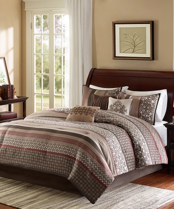 Red & Brown Quilted Coverlet Set