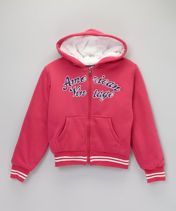 Raspberry 'American Vintage' Zip-Up Hoodie - Girls