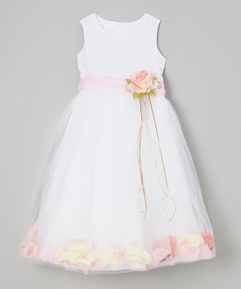 White & Pink Floral A-Line Dress - Toddler & Girls