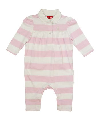 Pink & White Stripe Playsuit - Infant