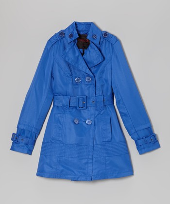 Dazzling Blue Trench Coat - Girls