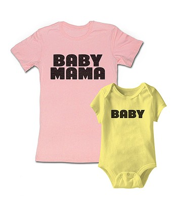 Pink 'Baby Mama' Tee & Yellow 'Baby' Bodysuit - Infant & Women