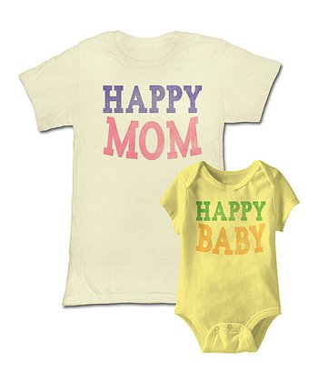 Natural 'Happy Mom' Tee & Yellow 'Baby' Bodysuit - Infant & Women