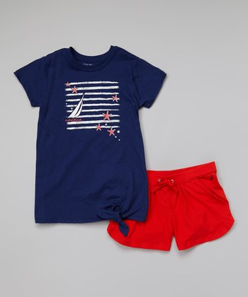 Navy Side-Tie Tee & Orange Knit Shorts - Infant, Toddler & Girls