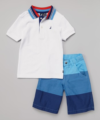 White Polo & Blue Color Block Shorts - Infant, Toddler & Boys