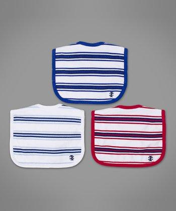 Red, White & Blue Stripe Bib Set