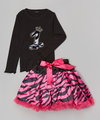 Black Zebra '1' Tee & Pettiskirt - Infant & Toddler