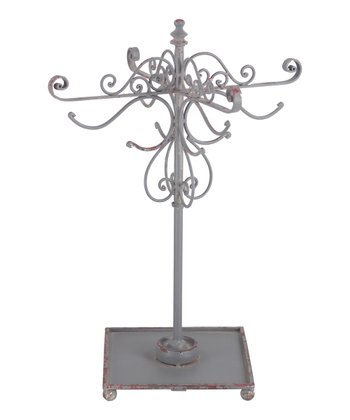 Distressed Gray & Red Jewelry Display Stand