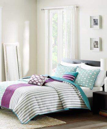 Purple & Teal Stripe Quilt Set
