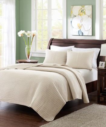 Light Khaki Stripe Quilt Set