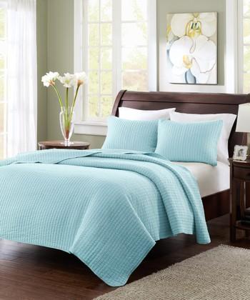 Blue Stripe Quilt Set