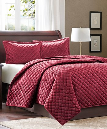 Red Square Coverlet Set
