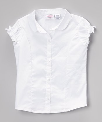 White Woven Peter Pan Collar Button-Up - Girls