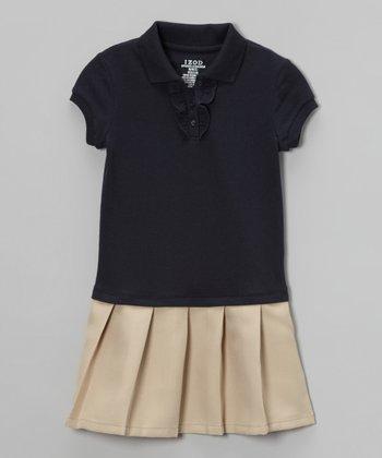 Navy Piqué Polo Dress - Girls
