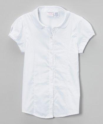 White Woven Ruffle Button-Up - Girls