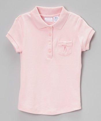 Light Pink Bow Pocket Polo - Girls