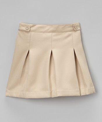 Khaki Pleated Scooter Skirt - Girls