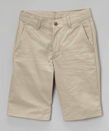 Khaki Flat-Front Twill Shorts - Boys