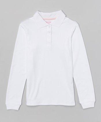 White Long-Sleeve Polo - Girls