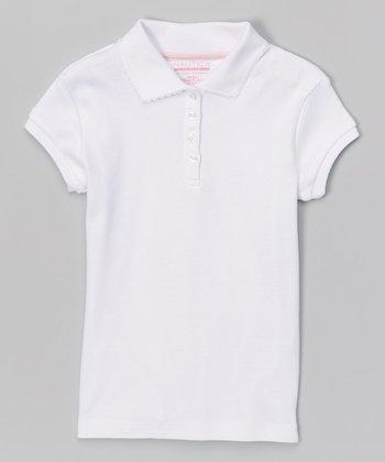 White Scalloped Polo - Girls