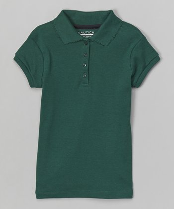 Forest Green Scalloped Polo - Girls